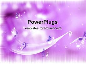 PowerPoint template displaying bright purple background with music notes