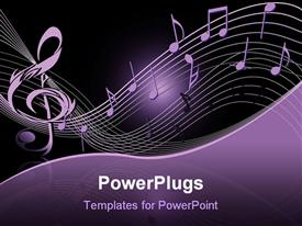 Violet treble clef on the black powerpoint template