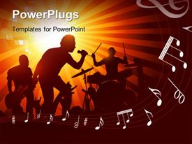 PowerPoint template displaying band playing to a crowd of fans in the background.