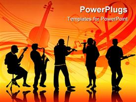 PowerPoint template displaying silhouettes of five musicians in a band in the background.
