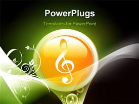 PowerPoint template displaying music symbol and floral designs in the background.