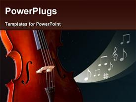 PowerPoint template displaying cool background with cello and music symbols
