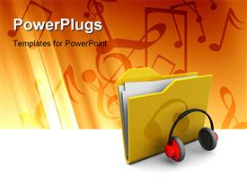 PowerPoint template displaying folder icon and headphones music symbol