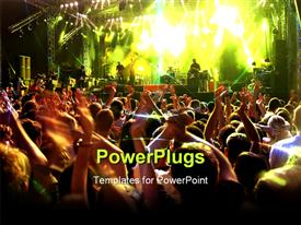 PowerPoint template displaying musical concert with stage lights and people dancing with hands raised