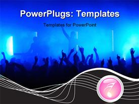 PowerPoint template displaying crowd raising hands at a pop concert