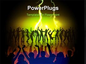 PowerPoint template displaying many happy people are dancing on the stage in the background.