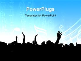 PowerPoint template displaying music event background. Vector eps10 depiction in the background.