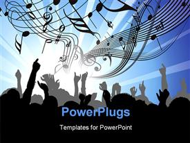 PowerPoint template displaying people at the concert - heads and hands on blue background
