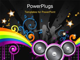 PowerPoint template displaying music colorful disco in the background.