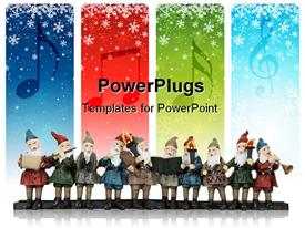 PowerPoint template displaying lots of elves singing with musical instruments with snow falling