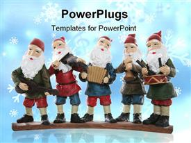 PowerPoint template displaying five elves playing their music instruments at Christmas in the background.