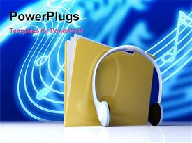 PowerPoint template displaying depiction. Music Folder. Conceptual Depiction in the background.