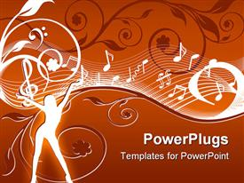 PowerPoint template displaying abstract depiction of a lady with music themes on a floral background