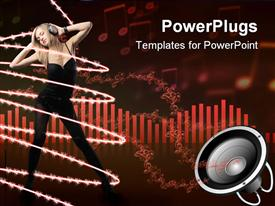 PowerPoint template displaying woman in black wearing headphones and dancing while surrounded by strings of light