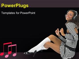 PowerPoint template displaying music Girl in the background.