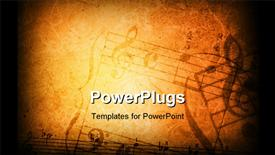 PowerPoint template displaying music grunge background with different music symbols