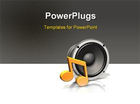 Large metallic industrial speaker with an orange musical note powerpoint design layout