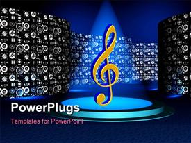 PowerPoint template displaying a musical note under a spot light with lots of small speakers