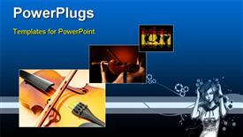 PowerPoint template displaying three tiles showing violins an people dancing
