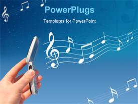 PowerPoint template displaying a lot of music signs in the background with a mobile phone