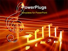 PowerPoint template displaying golden music notes in the background.