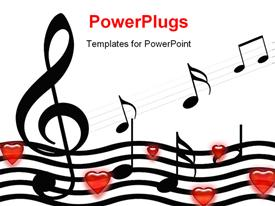 PowerPoint template displaying music symbols and hearts over white background