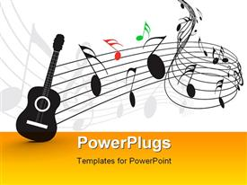 PowerPoint template displaying music notes with guitar player for design use in the background.