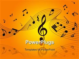 PowerPoint template displaying musical notes and symbols over orage, yellow background
