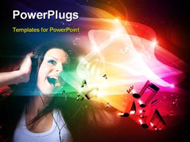 PowerPoint template displaying music depiction with young lady on headphone sings with music symbols