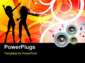 PowerPoint template displaying silhouette of people dancing with music symbols and speakers on florafloral design