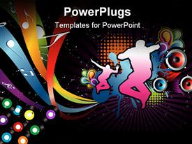 PowerPoint template displaying silhouettes showing active people dancing and jumping on fun music design with music notes and round speakers on disco black background