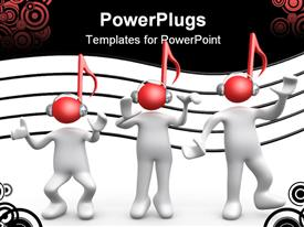 PowerPoint template displaying computer Generated Depiction - Music People in the background.