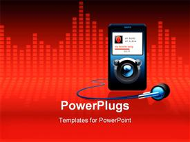 PowerPoint template displaying mp3 player with headphones depiction