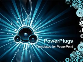 PowerPoint template displaying blue speakers in blue background with white stars and circles