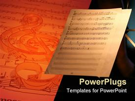 PowerPoint template displaying music sheet with notes next to bigger 3D sheet with notes