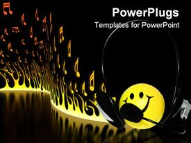 PowerPoint template displaying yellow smiley face wearing a headphone with burning fire background