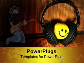PowerPoint template displaying black head phones covering a round yellow smiley face