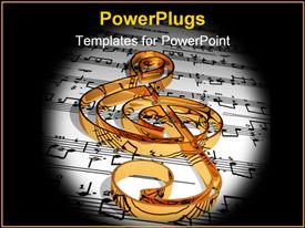 Gold music symbol & music sheet powerpoint theme