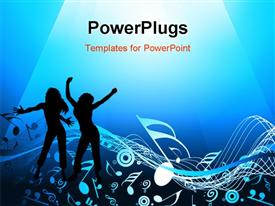 PowerPoint template displaying blue abstract background with music notes in the background.