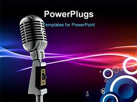 PowerPoint template displaying silver microphone and amplifier on colorful abstract background