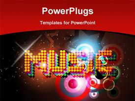PowerPoint template displaying music theme design in the background.