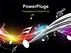 PowerPoint template displaying music symbols floating over curves on dark background