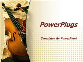Violin. Music concept powerpoint design layout