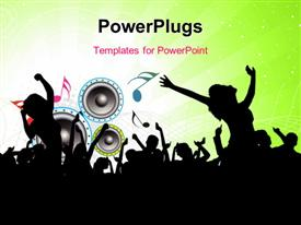 PowerPoint template displaying party depiction with silhouette of people, music symbols and speakers