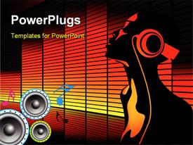 PowerPoint template displaying equalizer bars in background with music symbols, speakers and man with headphones