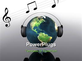 PowerPoint template displaying music planet earth with headphones in 3D in the background.