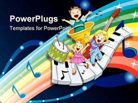 PowerPoint template displaying three children dancing and singing on musical instruments, piano keys, drum with two drumsticks, trumpet and music notes on glowing rainbow