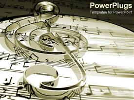 PowerPoint template displaying treble clef on music sheets and notes in black and white