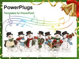 PowerPoint template displaying a number of snowmen with music instruments