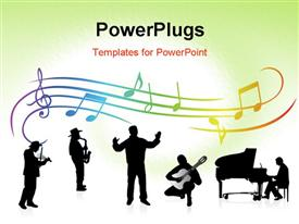 PowerPoint template displaying musical theme. Rainbow colors in the background.